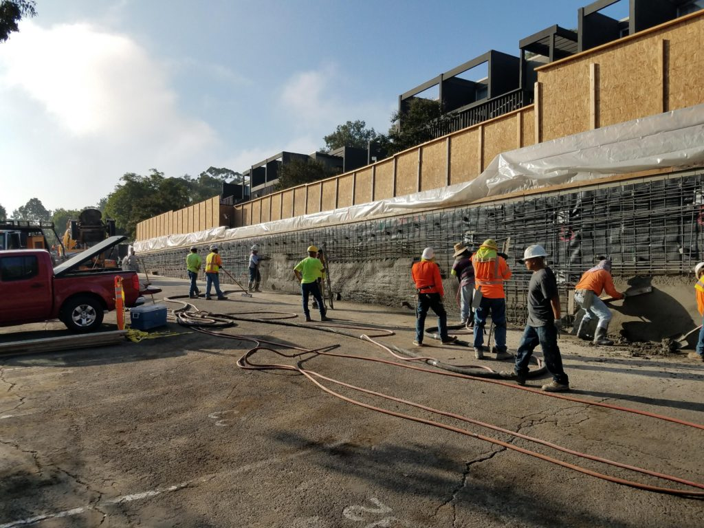 shotcrete concrete retaining walls california